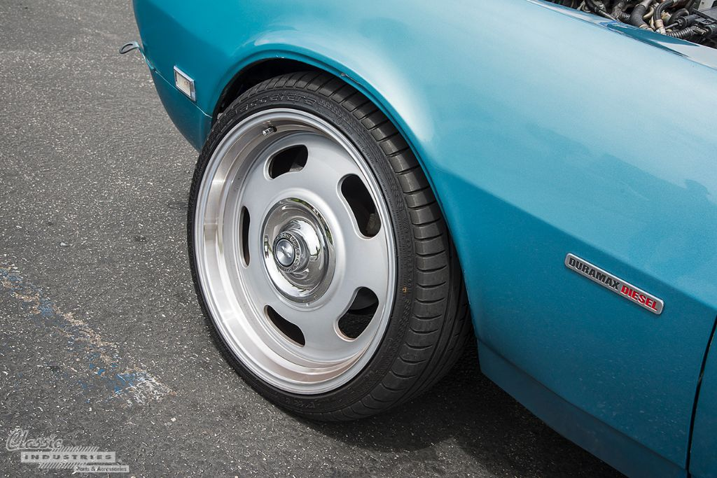 an allison 5speed automatic sends power to the rear wheels and a single exhaust pipe exits beneath the passenger rocker panel