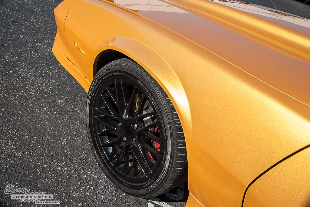 the camaro rides on black corvette c6 zr1 wheels which conceal disc brakes from a camaro ss teron tells us he plans to swap the zr1 wheels for a set